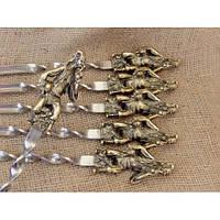 """Шампура """"Козаки"""" - набор шампуров с бронзовыми ручками в кейсе из натурального дерева"""