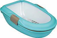 """Туалет Trixie 40152 """"Berto"""" для кошек с рамкой и сеточкой голубой 39 см/22 см/59 см, фото 1"""