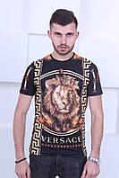 Мужская трендовая футболка  в стиле Versace Lion