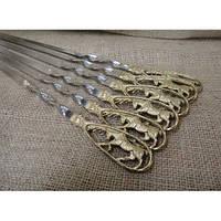"""Шампура """"Лоси"""" - набор шампуров с бронзовыми ручками в кейсе из натурального дерева"""