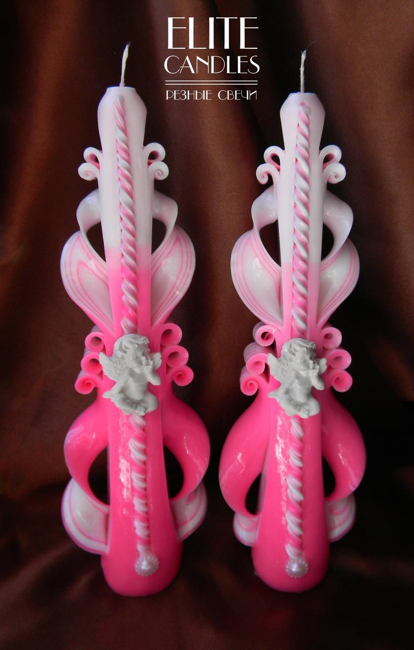 Свечи на крестины с ангелочками для крещения девочек розовые