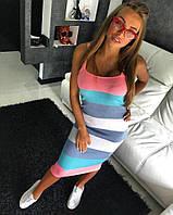 Полосатое вязаное платье-миди