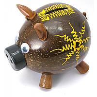 Копилка Свинка кокосовая 14х15х10 см