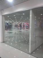 Перегородки в торговые центры из стекла