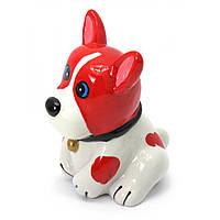 Копилка Собака керамика красно-белая 12х9х9 см