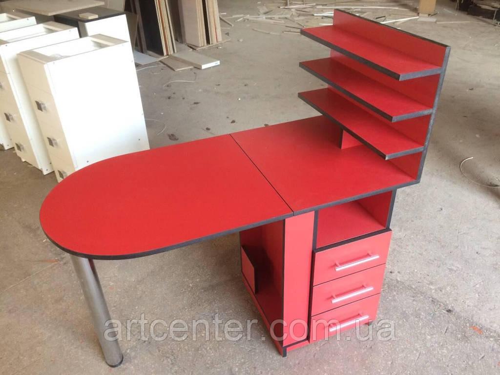 Маникюрный стол красный, с выдвижными ящиками и полочкой для лаков в студию красоты