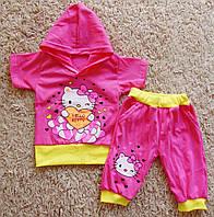 Детский летний костюм с капюшоном Китти для девочки