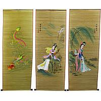 Панно из бамбуковой соломки с рисунком 40х110 см