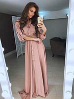 Платье женское длинное из шелка на кнопках P6259