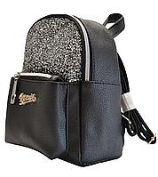 Рюкзак девчачий школьный черный серые блестки