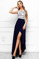 Женское длинное платье Арни синий Jadone Fashion 42-46 размеры