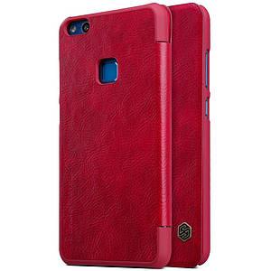 Чехол книжка для Huawei P10 Lite боковой с отсеком для визиток, NILLKIN Qin Series, красный