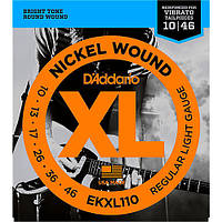 Струны D'Addario EKXL110 Electric Guitar Tremolo Regular Lite 10/46