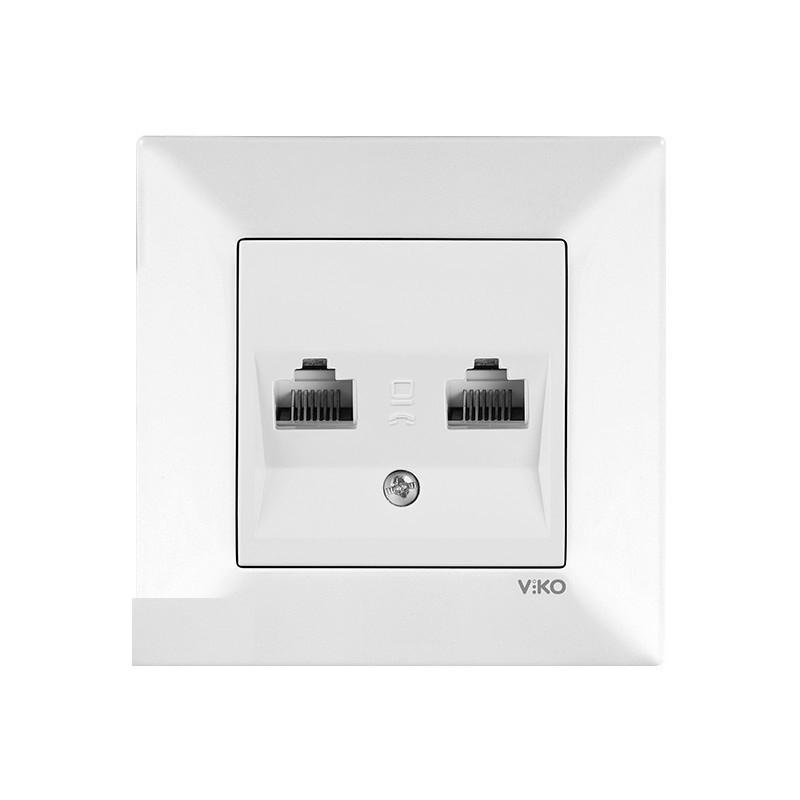 Розетка компьютерная двойная белая VIKO MERIDIAN