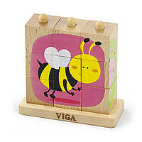 """Пазл-пирамидка Viga Toys """"Насекомые"""" (50158)"""