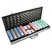 Покерный набор в алюминиевом кейсе 2 колоды+500 фишек 56х22х7см вес фишки 4 гр. d-39 мм