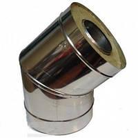 Дымоходное колено 45 градусов двустенное из нержавеющей стали с теплоизоляцией диаметром 240/300