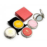 Зеркальце косметическое Модные бренды d-7 см в коробке + чехольчик