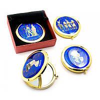 Зеркальце косметическое Египет золото d-7 см в коробке + чехольчик