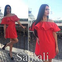 Летнее стильное платье с воланами, размеры 46-48