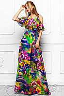Летнее длинное женское платье в пол Отим комбинированный Jadone Fashion 42-48 размеры