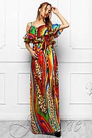 Яркое длинное женское платье в пол Отим комбинированный_2 Jadone Fashion 42-48 размеры