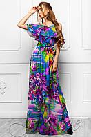 Длинное женское платье в пол Отим комбинированный_3 Jadone Fashion 42-48 размеры