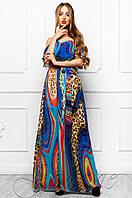 Длинное летнее женское платье Отим комбинированный_4 Jadone Fashion 42-48 размеры
