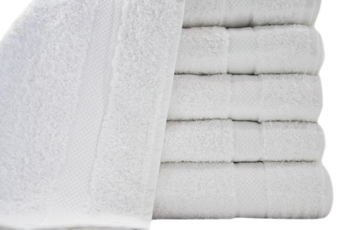 Белые полотенца для отелей 50x90 высокой плотности 475гр/M2