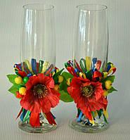 Весільні келихи для молодят в українському стилі Свадебные бокалы