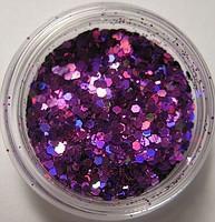 """Украшение для дизайна ногтей """"Брокард"""", цвет фиолетовый"""