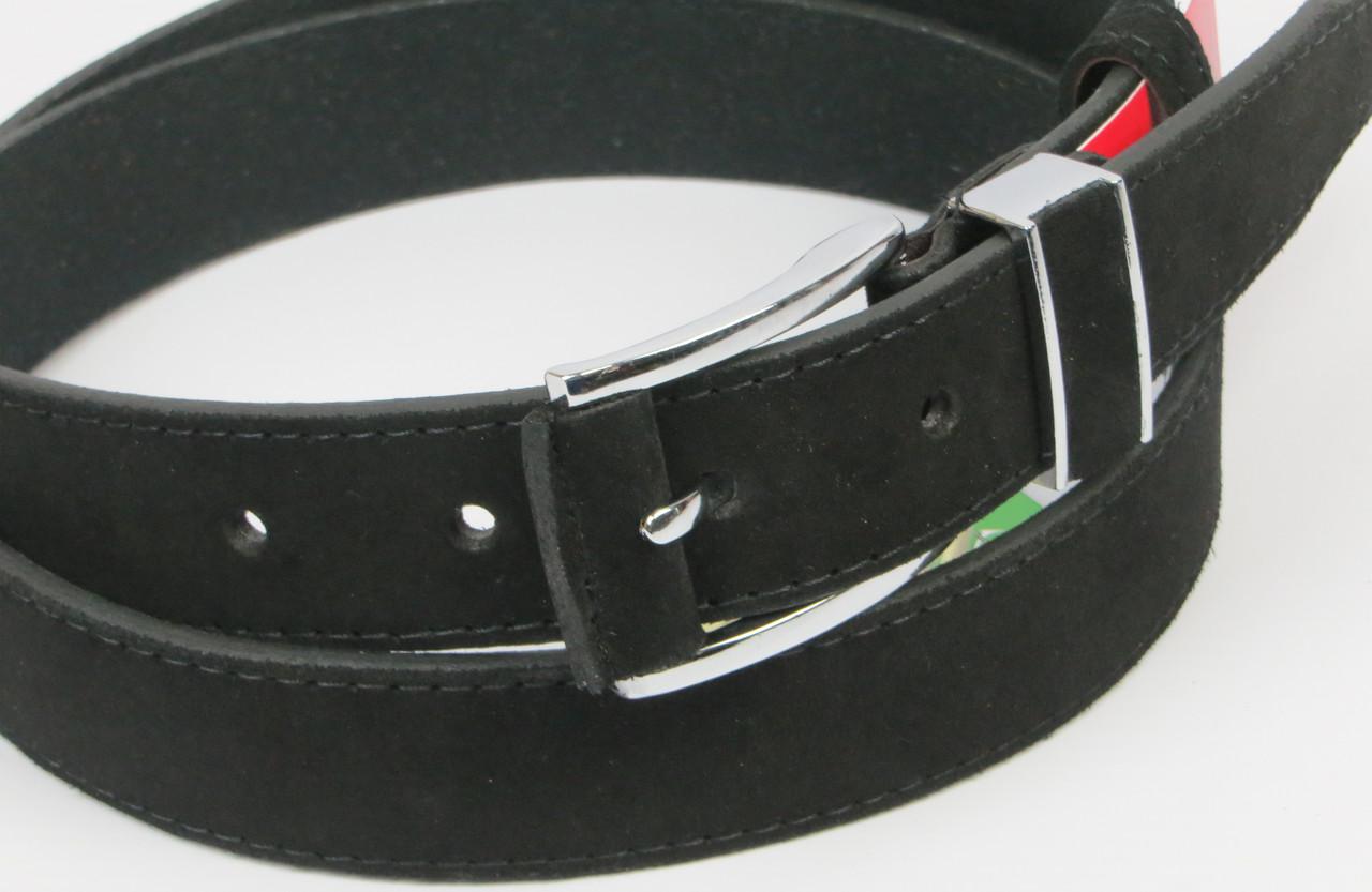 Брючный мужской замшевый ремень Skipper 5581-4 чёрный ДхШ: 125х3,5 см.