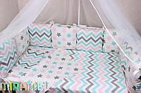 Сатиновое постельное белье  для новорожденных в кроватку