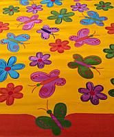Детский ковер Разноцветные бабочки с цветочками