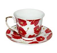 """Фарфоровый чайный набор на 6 персон """"Маки"""" 220 мл, 11559"""