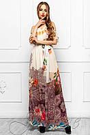 Летнее женское платье в пол Отим комбинированный_5 Jadone Fashion 42-48 размеры