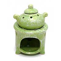 Аромалампа керамическая Горшок на печи зеленая 12х8х8 см