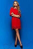 Летнее красное платье-туника Шатти  Jadone Fashion 42-48 размеры