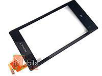 Тачскрин (сенсор) для Nokia 520 Lumia/ 525 Lumia RM-914, RM-915, чёрный, с передней панелью