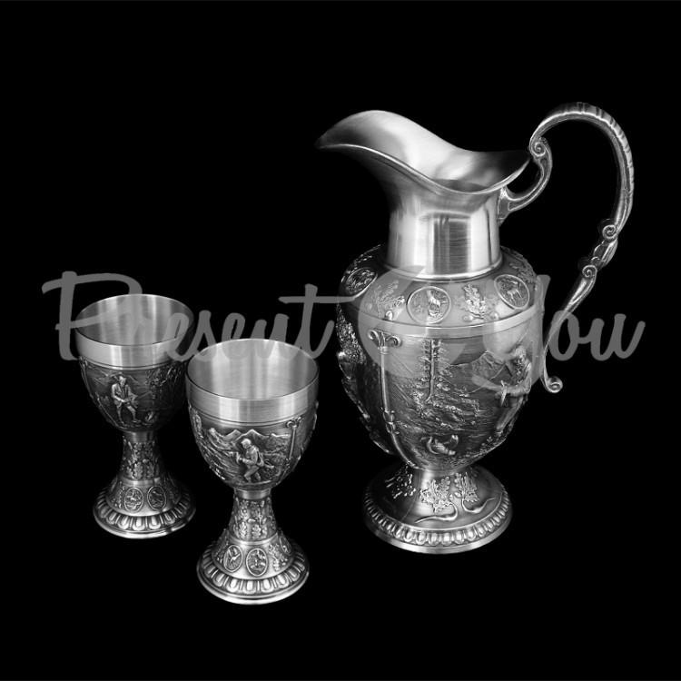 Hабор Кувшин и 2 бокала для вина германия пищевое олово Artina SKS, 150 мл (11732a)