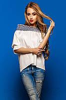 Молодежная женская блуза Лорри комбинированный Jadone Fashion 42-48 размеры