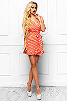 Летний женский персиковый комбинезон в горошек Белиз Jadone Fashion 42-46 размеры