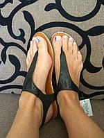 Босоножки-вьетнамки черные на плоской подошве, вьетнамки эко-кожа с напылением