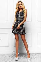 Летний женский черный комбинезон в горошек Белиз Jadone Fashion 42-46 размеры