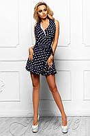 Летний женский темно-синий комбинезон в горошек Белиз Jadone Fashion 42-46 размеры