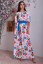 Оригинальное длинное женское платье в пол с цветочным принтом
