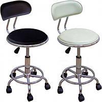 Кресло офисное, для персонала, для мастера, хромированное Бэйсик белое на роликах