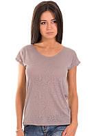 Серая футболка женская деворе без рисунка летняя легкая с коротким рукавом  хлопок 100% трикотажная (Украина)