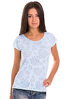Голубая футболка женская без рисунка летняя легкая с коротким рукавом  хлопок 100% трикотажная (Украина)