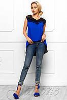 Эксклюзивная легкая блуза из шифона с шикарным кружевом Хасин электрик Jadone Fashion 42-48 размеры